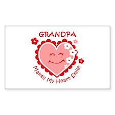 Heart Smile Grandpa Rectangle Decal
