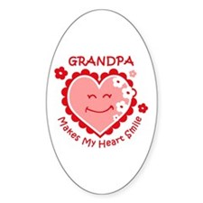 Heart Smile Grandpa Oval Decal