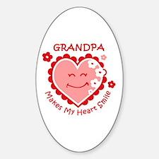 Heart Smile Grandpa Oval Decal