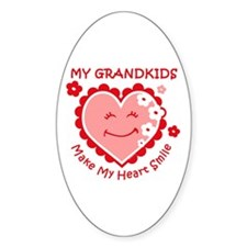 Heart Smile Grandkids Oval Decal