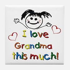 I Love Grandma (girl) Tile Coaster