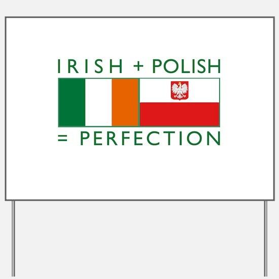 Irish Polish flags Yard Sign