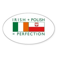 Irish Polish flags Oval Decal