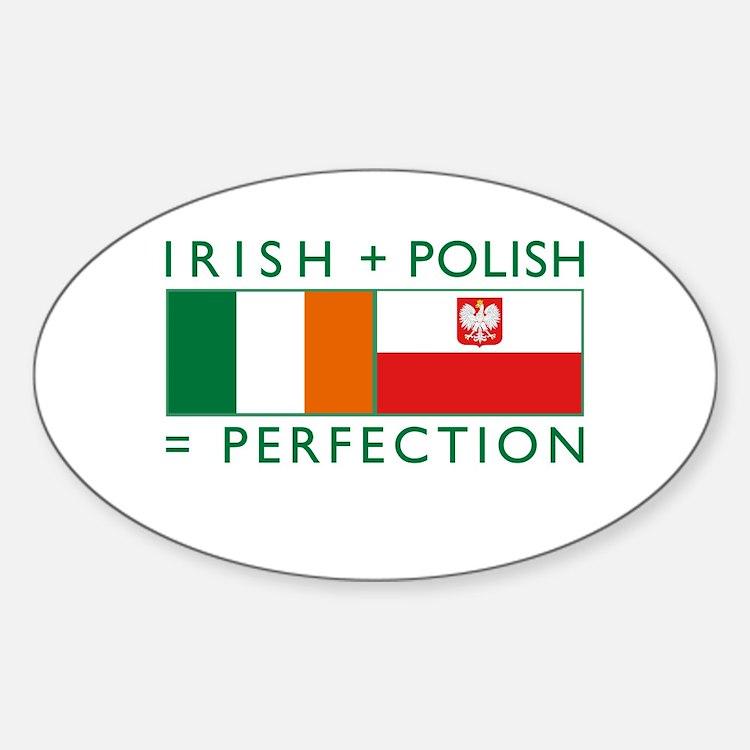 Irish Polish flags Oval Decal