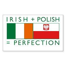 Irish Polish flags Rectangle Stickers
