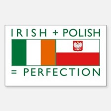 Irish Polish flags Rectangle Stickers
