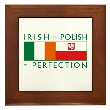 Irish Polish flags Framed Tile