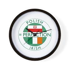 Irish Polish flags Wall Clock