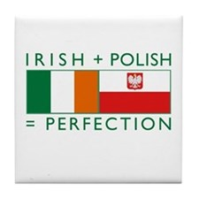 Irish Polish flags Tile Coaster