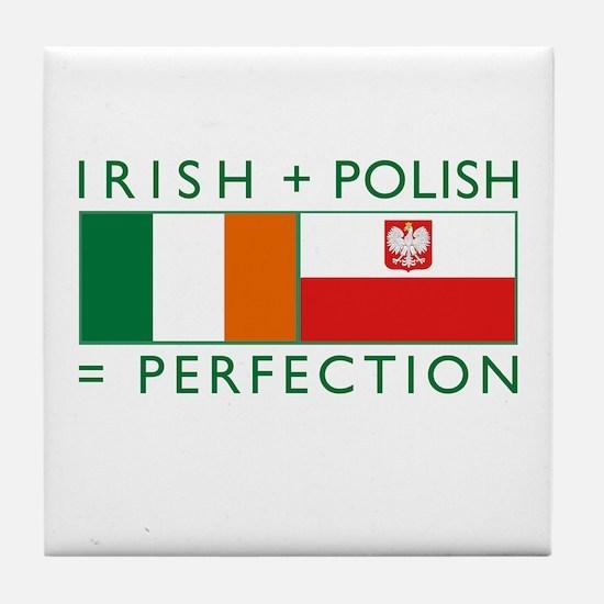 Irish Polish flags Tile Coaster