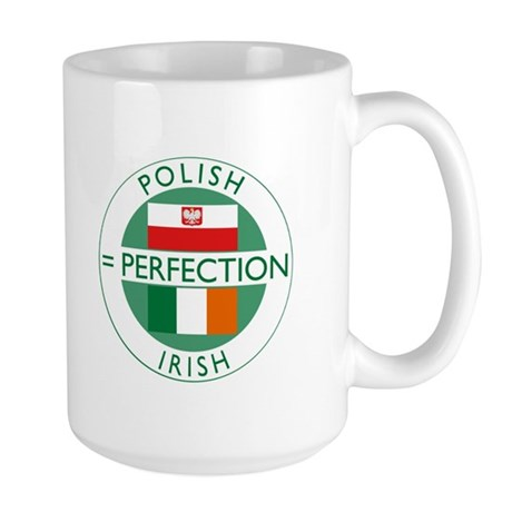 Irish Polish flags Large Mug