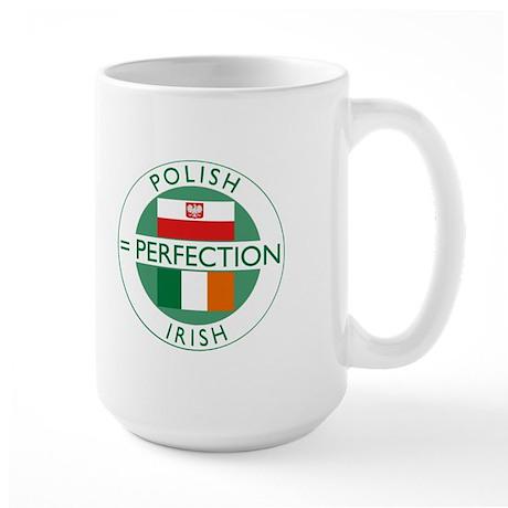 Irish Polish flags Large Mug