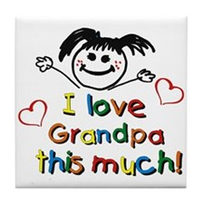 I Love Grandpa (girl) Tile Coaster