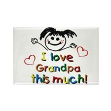 I Love Grandpa (girl) Rectangle Magnet