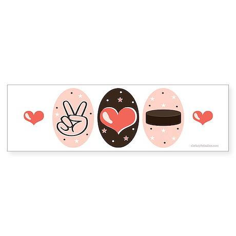 Peace Love Hockey Bumper Sticker