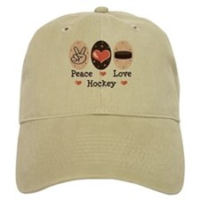 Peace Love Hockey Baseball Baseball Cap