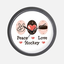 Peace Love Hockey Wall Clock