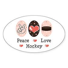 Peace Love Hockey Oval Decal