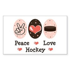 Peace Love Hockey Rectangle Decal