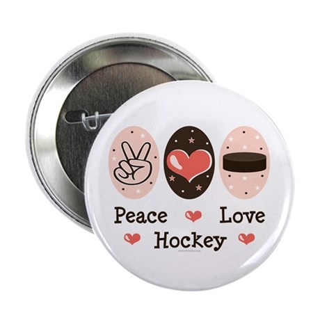 """Peace Love Hockey 2.25"""" Button (10 pack)"""
