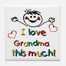I Love Grandma (boy) Tile Coaster