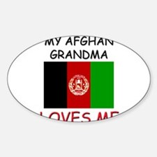 My Afghan Grandma Loves Me Oval Decal