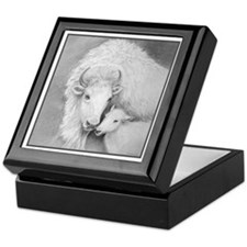 White Buffalo & Calf ~ Tile Keepsake Box
