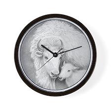 White Buffalo & Calf ~ Wall Clock