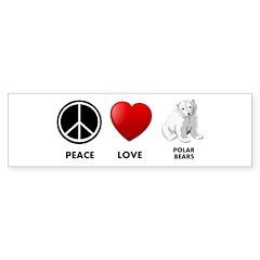 Peace Love Polar Bears Bumper Sticker (10 pk)