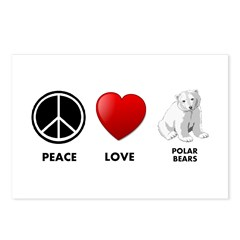 Peace Love Polar Bears Postcards (Package of 8)