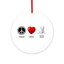 Peace Love Polar Bears Ornament (Round)