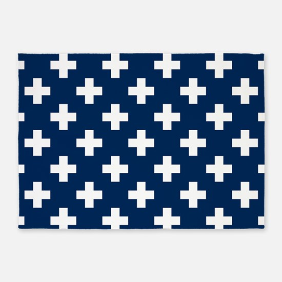 Navy Blue Plus Sign Pattern 5'x7'Area Rug
