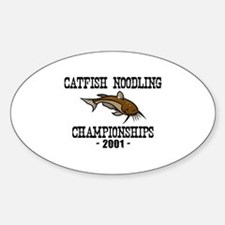 Catfish Noodling Oval Decal