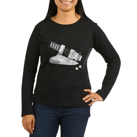 Air Guitar (left handed) Women's Long Sleeve Dark