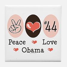 Peace Love 44 Obama Tile Coaster