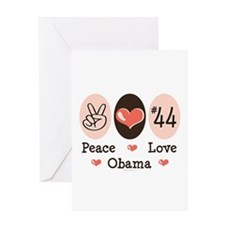 Peace Love 44 Obama Greeting Card