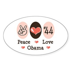 Peace Love 44 Obama Oval Decal