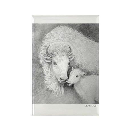 White Buffalo & Calf ~ Rectangle Magnet
