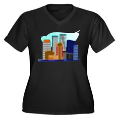 911 Twin Towers Women's Plus Size V-Neck Dark T-Sh