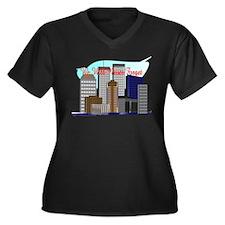 911 Twin Towers Women's Plus Size V-Neck Dark T-Sh
