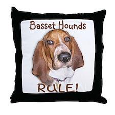 Basset Hounds Rule Throw Pillow