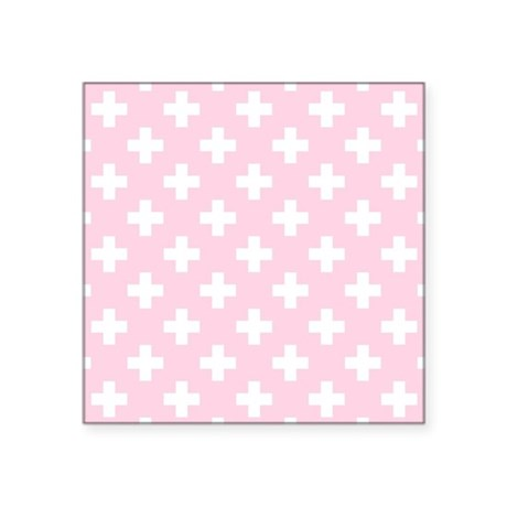 """Baby Pink Plus Sign Pattern Square Sticker 3"""" x 3"""""""
