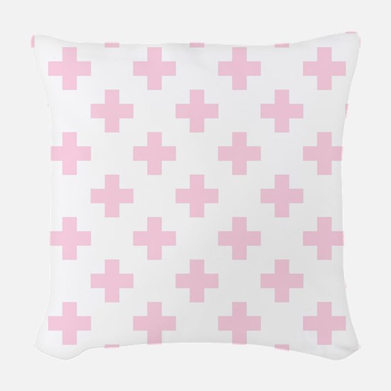 Baby Pink Plus Sign Pattern (R Woven Throw Pillow
