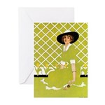 Lady in Green Greeting Cards (Pk of 10)