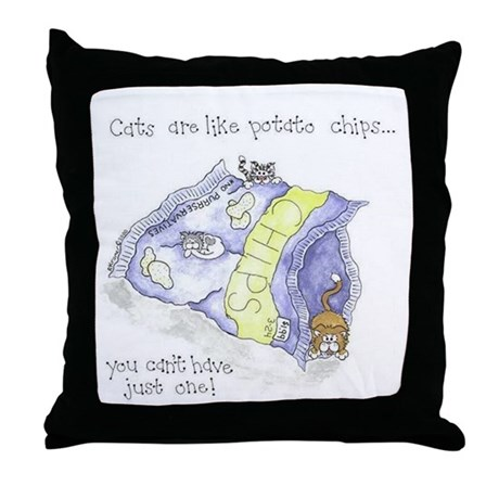 Chip Cats Throw Pillow