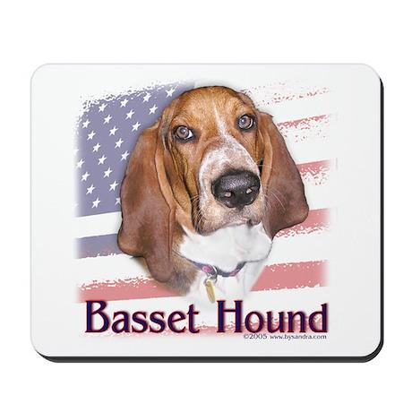 Patriotic Basset Hound Mousepad
