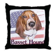 Patriotic Basset Hound Throw Pillow
