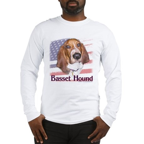 Patriotic Basset Hound Long Sleeve T-Shirt