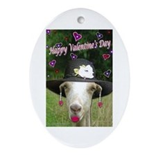 Ruby the Valentine Goat Oval Ornament