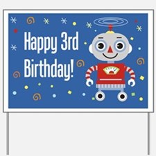 Robot 3rd Birthday Yard Sign